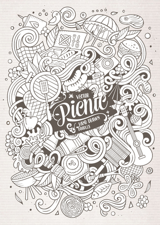 sketchy illustration: Cartoon cute doodles hand drawn picnic frame design. Line art detailed, with lots of objects background. Funny vector illustration. Sketchy illustration with nature theme items