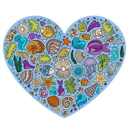 sea shell: Colorful vector hand drawn set of Underwater life cartoon doodle objects, symbols and items. Heart form composition