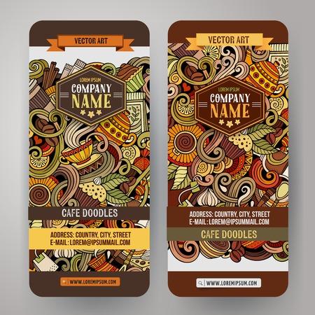 만화 다채로운 벡터 손으로 그린 낙서 카페 기업의 정체성. 2 수직 배너 디자인. 템플릿 설정