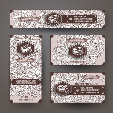 Cartoon cute sketchy vector hand drawn doodles cafe corporate identity set. Templates design of banners, id cards, flyer