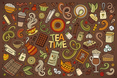 teatime: Colorful vector hand drawn doodle cartoon set of tea and coffee theme items, objects and symbols