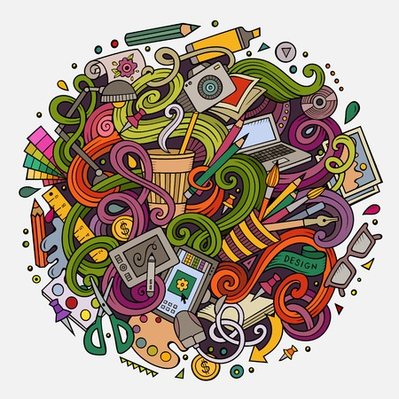 artists: Cartoon cute doodles hand drawn Design illustration. Colorful detailed, with lots of objects background. Funny vector artwork. Bright colors picture with Artistic theme items