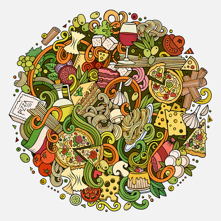 italy background: Cartoon cute doodles hand drawn italian food illustration. Colorful detailed, with lots of objects background. Funny vector artwork. Bright picture with Italy cuisine theme items. Square composition Illustration