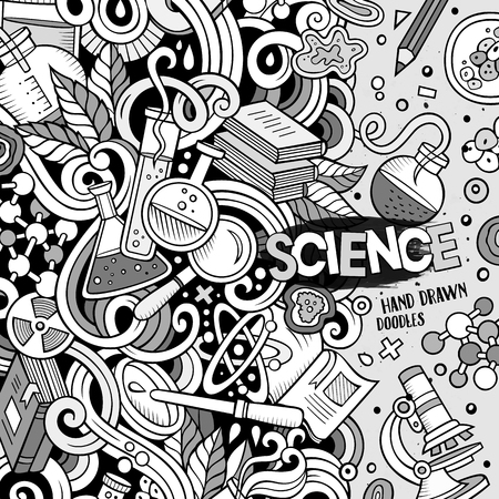 microscope lens: Cartoon cute doodles hand drawn Science frame design. Line art detailed, with lots of objects background. Funny vector illustration. Sketchy border with scientific theme items