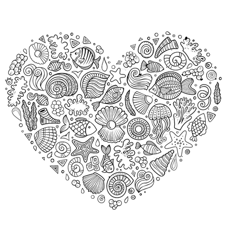 set form: Line art sketchy vector hand drawn set of Underwater life cartoon doodle objects, symbols and items. Heart form composition Illustration
