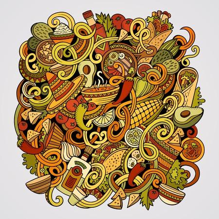 만화 귀여운 낙서 손으로 그려진 된 멕시코 음식 그림. 다채로운, 많은 개체 배경으로 상세한. 재미 있은 벡터 아트웍. 밝은 색 그림 멕시코 요리 테마  일러스트