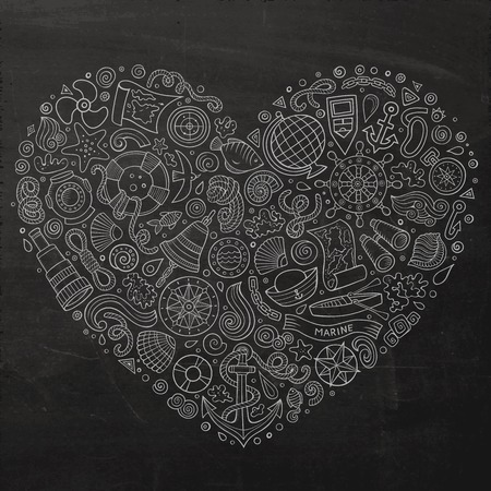 Chalkboard vector hand drawn set of Marine, Nautical cartoon doodle objects, symbols and items. Heart form composition