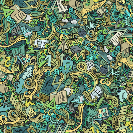 semester: Cartoon cute doodles hand drawn School seamless pattern. Colorful detailed, with lots of objects background. Endless funny vector illustration. Education backdrop