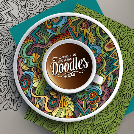 Vector illustration with a Cup of coffee and hand drawn Abstract doodles on a saucer, on paper and on the background Illustration