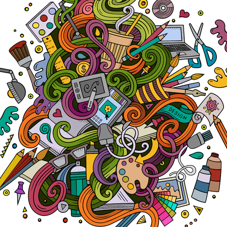 workspace: Cartoon cute doodles hand drawn Design illustration. Colorful detailed, with lots of objects background. Funny vector artwork. Bright colors picture with Artistic theme items