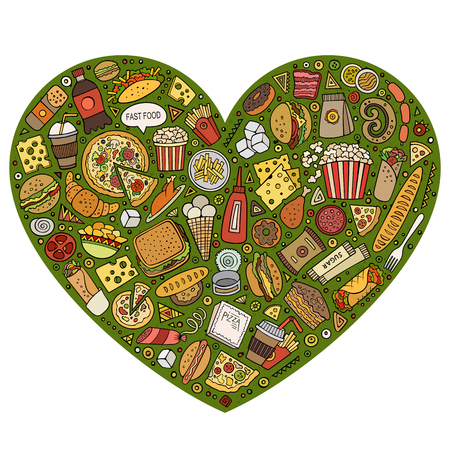Colorful vector hand drawn set of Fast Food cartoon doodle objects, symbols and items. Heart form composition