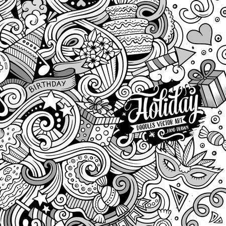 marco cumpleaños: garabatos lindo dibujo animado dibujado a mano diseño de Vacaciones marco. dibujos detallados, con una gran cantidad de objetos de fondo. Ilustración divertida del vector. frontera incompleto con artículos del tema del cumpleaños