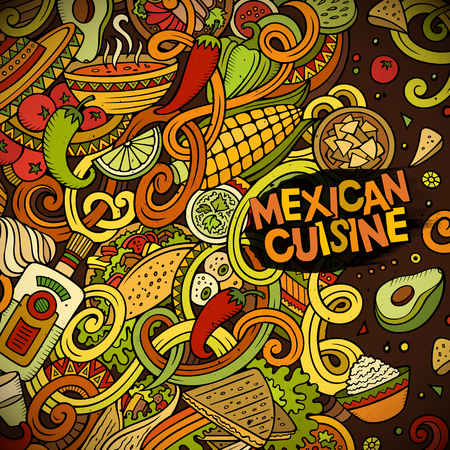 latin american: Cartoon cute doodles hand drawn Mexican food frame design. Colorful detailed, with lots of objects background. Funny vector illustration. Bright colors border with latin american cusine theme items