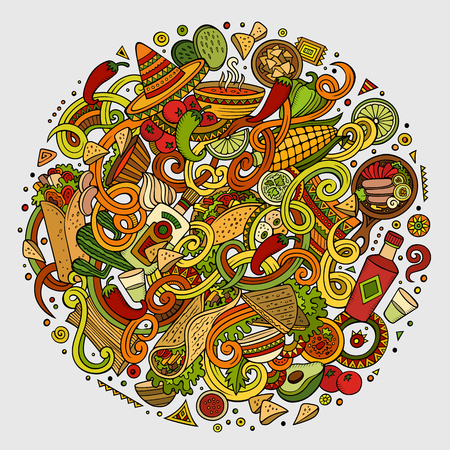 lots: Cartoon cute doodles hand drawn Mexican food illustration. Colorful detailed, with lots of objects background. Funny vector artwork. Bright colors picture with Mexico cuisine theme items