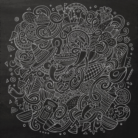 latinoamerica: Cartoon cute doodles hand drawn Mexican food illustration. Chalkboard detailed, with lots of objects background. Funny vector artwork. Dark picture with Mexico cuisine theme items Illustration