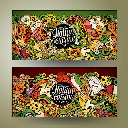 Leuke cartoon vector de hand getekende doodles Italiaans eten corporate identity. 2 horizontale lijn art banners design. sjablonen set Stock Illustratie