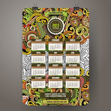 hand drawn: Cartoon colorful hand drawn doodles Japan food 2017 year calendar template. English, Sunday start. Very detailed, with lots of objects illustration. Funny vector artwork. Illustration
