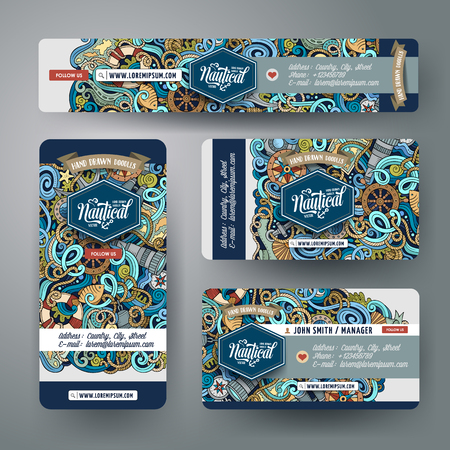 Corporate Identity vector templates set design with doodles hand drawn nautical theme. Colorful, id cards, flayer design. Templates set