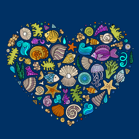 set form: Colorful vector hand drawn set of Underwater life cartoon doodle objects, symbols and items. Heart form composition