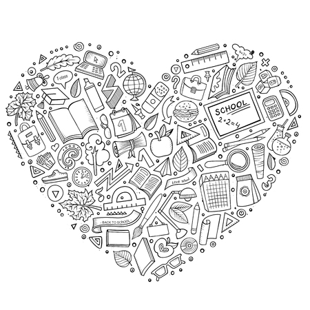 set form: Line art vector hand drawn set of Education cartoon doodle objects, symbols and items. Heart form composition