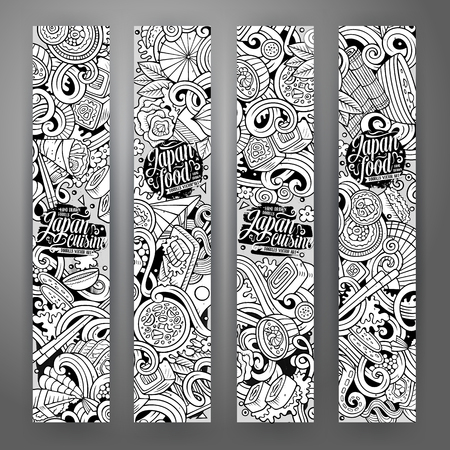 Cartoon cute line art vector hand drawn doodles japanese food corporate identity. 4 Vertical banners sketchy design set