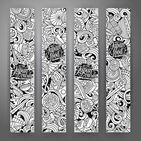 Dessin animé mignon ligne art vecteur dessinés à la main doodles identité corporative alimentaire japonaise. 4 bannières verticales ensemble de conception sommaire
