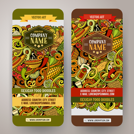 latinoamerica: Cartoon colorful vector hand drawn doodles mexican cuisine corporate identity. 2 vertical banners design. Templates set