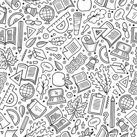 Karikatur Nette Hand Zurück Zur Schule Nahtlose Muster Gezeichnet ...