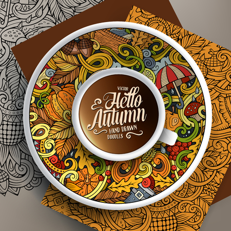 bezel: Vector illustration with a Cup of coffee and hand drawn Autumn doodles on a saucer, on paper and on the background