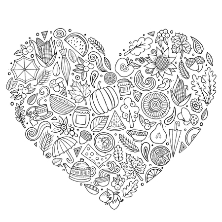 Contour vector hand drawn doodle cartoon set of Autumn objects, symbols and items. Heart composition
