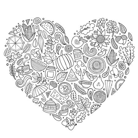 Contour vector hand getrokken doodle cartoon set herfst objecten, symbolen en items. Samenstelling van het hart