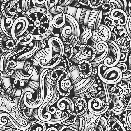 endlos: Cartoon handgezeichneten Kritzeleien Nautik und Marine nahtlose Muster. Line art Spur detailliert, mit vielen Objekten Vektor-Hintergrund
