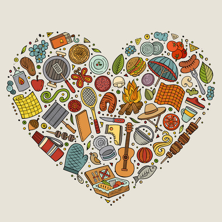 Colorful vector hand drawn set of Picnic cartoon doodle objects, symbols and items. Heart composition