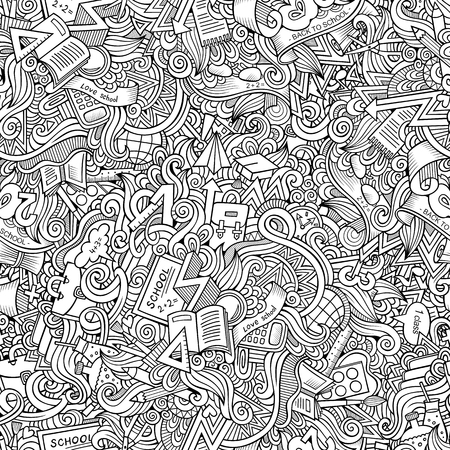 Cartoon cute doodles hand drawn School seamless pattern. Contour detailed, with lots of objects background. Endless funny vector illustration. Line art education backdrop