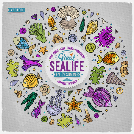 sealife: Colorful vector hand drawn set of Sealife cartoon doodle objects, symbols and items. Round frame composition Illustration