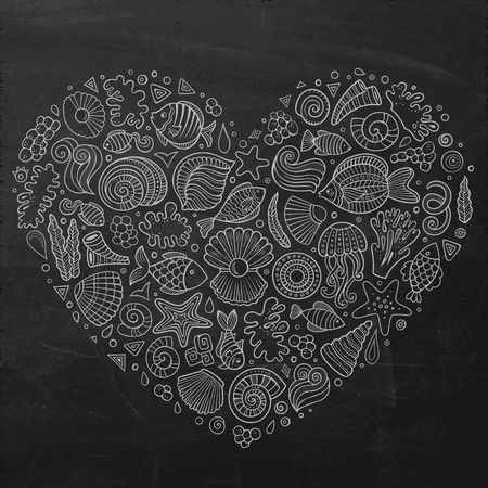 set form: Chalkboard vector hand drawn set of Underwater life cartoon doodle objects, symbols and items. Heart form composition