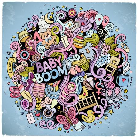 만화 귀여운 낙서 손으로 아기 그림을 그려. 다채로운 개체 배경의 많은, 자세한. 재미 벡터 아트웍. 밝은 색상은 어린이 테마 항목과 사진 일러스트