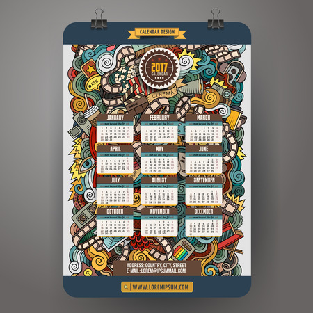motion picture: Cartoon colorful hand drawn doodles Cinema 2017 year calendar template. English, Sunday start. Very detailed, with lots of objects illustration. Funny vector artwork. Illustration