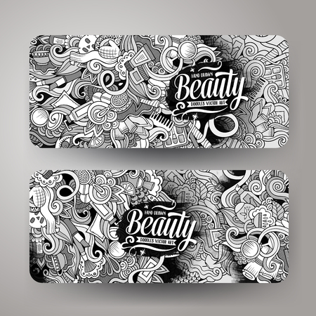 women body: Cartoon cute line art vector hand drawn doodles cosmetic corporate identity. 2 horizontal beauty banners design. Templates set Illustration
