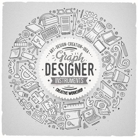 라인 아트 벡터 손으로 그려진 된 집합 디자인 만화 낙서 개체, 기호 및 항목. 라운드 프레임 구성