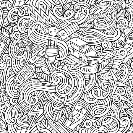 enchufe: garabatos lindo dibujo animado dibujado a mano patrón transparente vehículo eléctrico. dibujos detallados, con una gran cantidad de objetos de fondo. ilustración vectorial divertido sin fin. telón de fondo de contorno con coches del eco símbolos y elementos