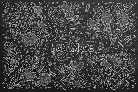 art vector: Line art chalkboard vector hand drawn doodle cartoon set of handmade objects and symbols
