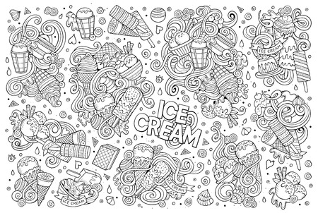 icecream: Line art vector hand drawn doodle cartoon set of ice-cream objects and symbols Illustration