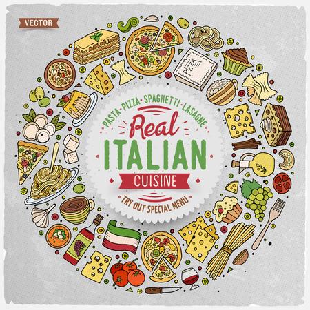 Colorful vector hand drawn set of Italian food cartoon doodle objects, symbols and items. Round frame composition