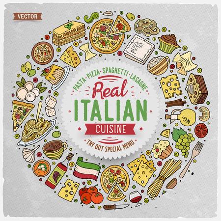 comida italiana: Colorido vector dibujado a mano conjunto de italianos bosquejo de dibujos animados alimentos objetos, símbolos y elementos. Composición del marco de la Ronda