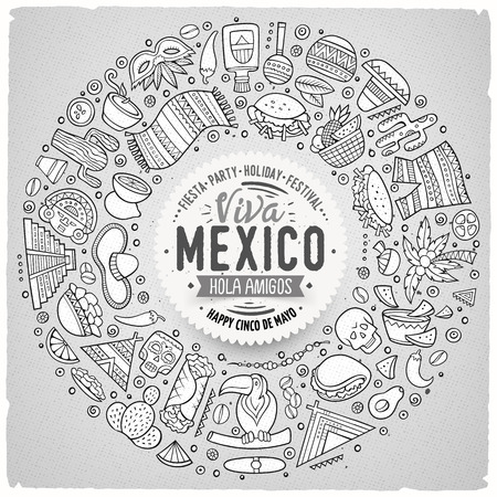 machu: Line art vector hand drawn set of Latin American cartoon doodle objects, symbols and items. Round frame composition
