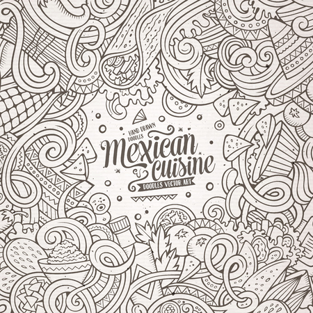 latin american: Cartoon cute doodles hand drawn Mexican food frame design. Line art detailed, with lots of objects background. Funny vector illustration. Sketchy border with latin american cusine theme items Illustration