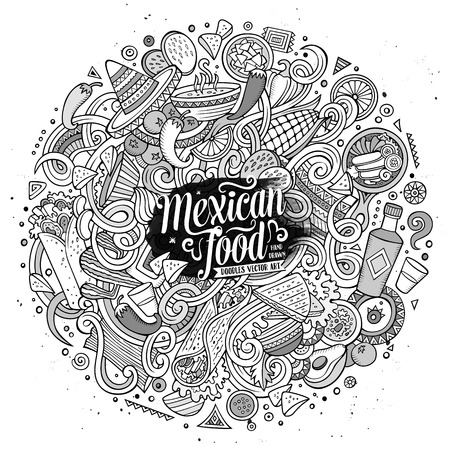 mexico cartoon: Cartoon cute doodles hand drawn Mexican food illustration. Line art detailed, with lots of objects background. Funny vector artwork. Sketchy picture with Mexico cuisine theme items