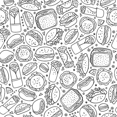 fastfood: Cartoon cute hand drawn Fast food seamless pattern. Line art with lots of objects background. Endless funny vector illustration. Sketch backdrop with fastfood symbols and items