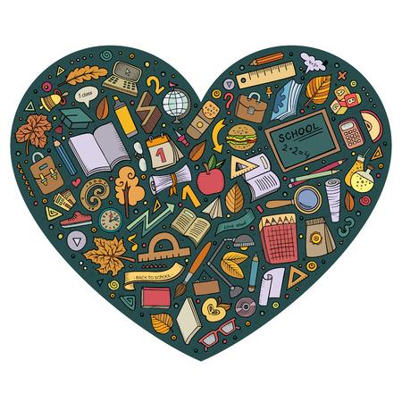 ejercicio: Colorido vector dibujado a mano conjunto de objetos de educación bosquejo de dibujos animados, símbolos y elementos. composición de la forma del corazón